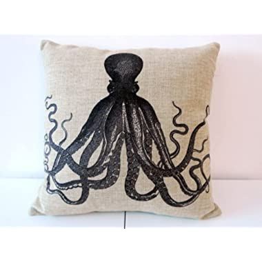 Decorbox Cotton Linen Square Throw Pillow Case Decorative Cushion Cover Pillowcase for Sofa Octopus 18  X18