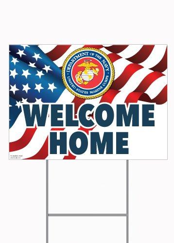 U.S. Marines Welcome Home - 18x24 Rigid Plastic Picket Signs