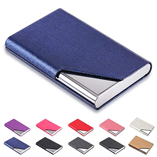 DMFLY Business Name Card Holder Luxury PU Leather & Multi Card Case, Business Name Card Holder Wallet Credit Card ID Case Holder for Women & Men - Keep Your Business Cards Clean (Blue001)