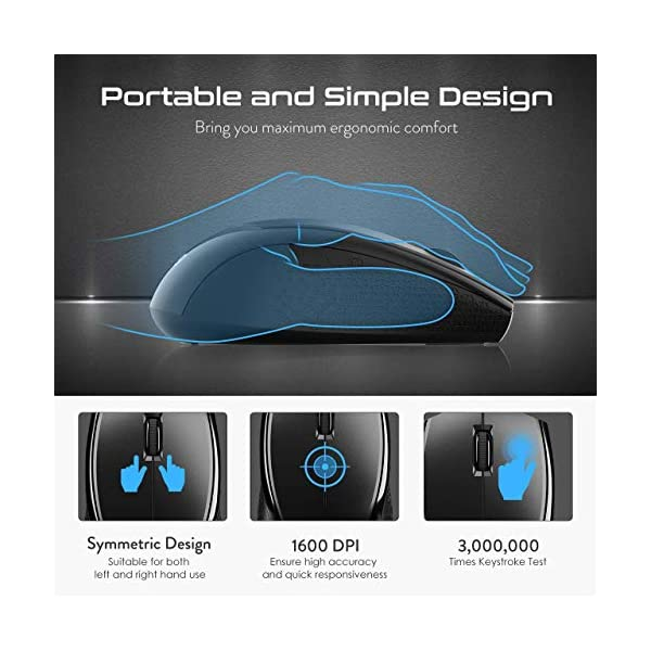 VicTsing Wireless Keyboard and Mouse Combo, Wireless Keyboard Ultra-Thin with Water-Dropping Keycaps + Portable Mouse…