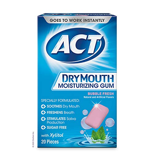 ACT Dry Mouth Moisturizing Gum with Xylitol, Sugar Free Bubble Fresh (20 Count)