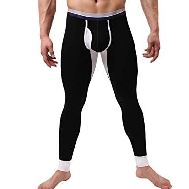 23a3bc9f1be8 Usstore Men Modal Underpants Fall Winter Long Thermal Tight Pant Underwear  Leggings Splice Comfort Pants Trousers