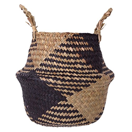 Smartcoco Foldable Natural Seagrass Woven Hanging Storage Basket with Handle Toys Laundry Storage Holder Container Home Plants Flower Decoration, 12.6