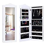 MyEasyShopping Wall Mounted Mirrored Jewelry Armoire Storage Organizer Jewelry Armoire Storage Mirrored Cabinet Organizer Box Stand Mirror W Wall White Lockable Christmas Brown Ring Gift Mounted Mount