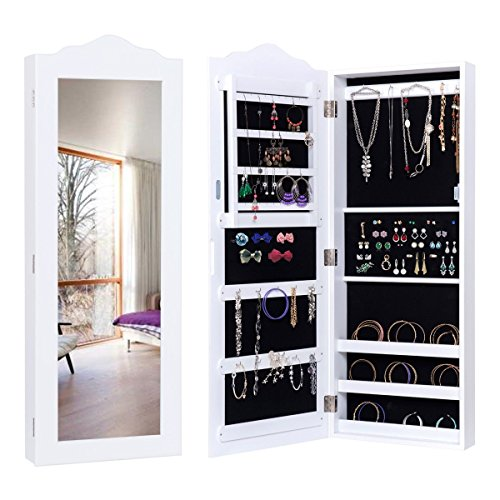 MyEasyShopping Wall Mounted Mirrored Jewelry Armoire Storage Organizer Jewelry Armoire Storage Mirrored Cabinet Organizer Box Stand Mirror W Wall White Lockable Christmas Brown Ring Gift Mounted Mount by MyEasyShopping
