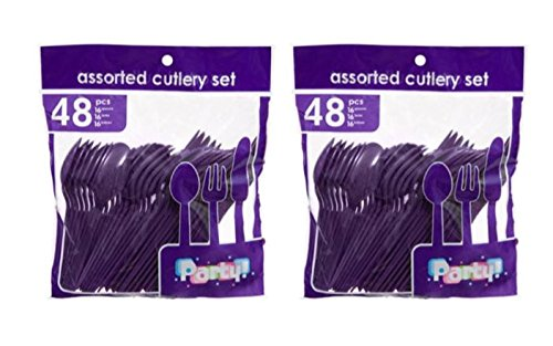 Purple Cutlery (Heavy Duty Plastic Cutlery Set in Purple - 32 Spoons, 32 Forks, 32 Knives)