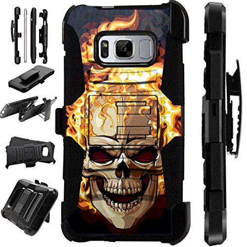 [World Acc] For Samsung Galaxy S8 Active FLOWER Armor Hybrid Silicone Cover Stand LuxGuard Holster