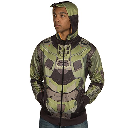 Cortana Costumes (Halo Men's Master Chief MJOLNIR Premium Zip-Up Hoodie (MultiColor, XX-Large))