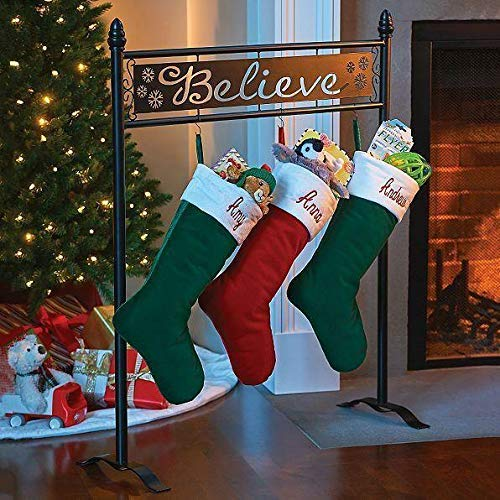 TisYourSeason Believe Christmas Stocking Holder Stand in Black Color (Stocking Stand Metal Christmas)