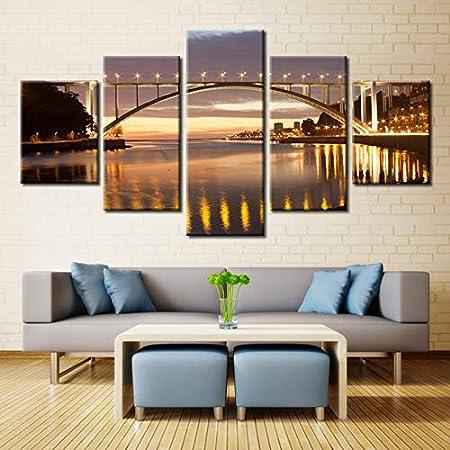 mmwin Wall Art HD Impreso Lienzo d Cartel 5 Panel Golden ...