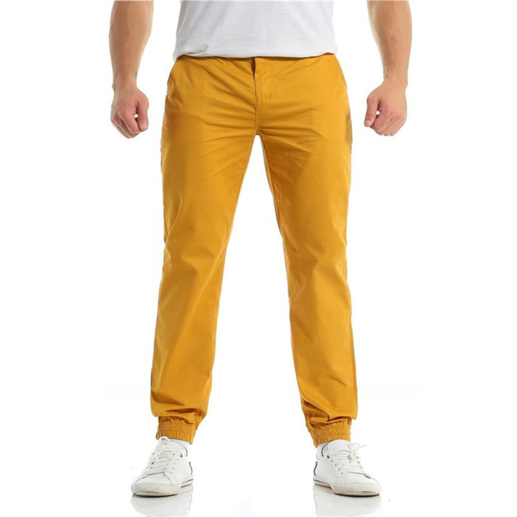 PASATO New!Fashion Men's Casual Drawstring Zipper Bunch Of Foot Pure Color Pant Trousers(Yellow,XL)