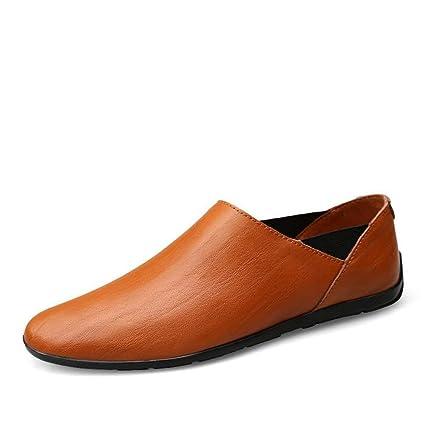FuweiEncore Mocasines para Hombres Zapatos, Minimalismo para Hombre Mocasines sin Cordones PU Cuero Moda Conducción