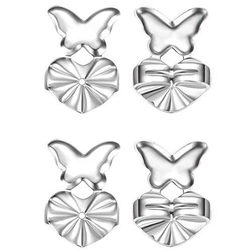 Price comparison product image Adjustable Hypoallergenic Support Lift Earring Backs Butterfly Secure For Heavy Earrings On TV (Silver-Plated)