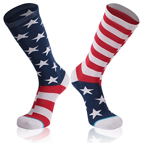 American Flag Socks, Gmark Stars & Stripes USA Flag Mismatch Soccer & Football Patriotic Athletic Socks 1-Pair Large