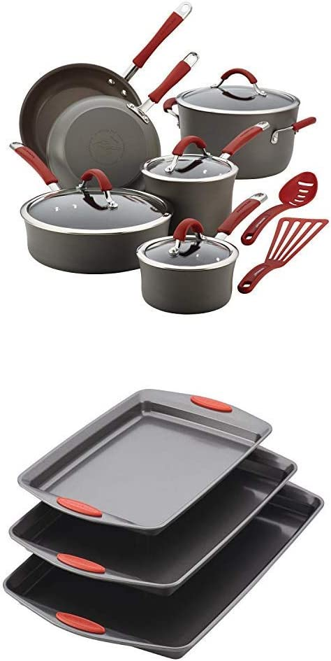 Rachael Ray Cucina Hard-Anodized Aluminum Nonstick Pots and Pans Cookware Set, 12-Piece with Nonstick Bakeware Cookie Pan Set, 3-Piece