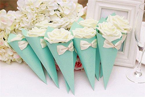 Better-Way 50pcs Romance Cone Design Ice Cream Shape Rose Candy Boxes Fantasy Wedding Favor Gift Box Party Wedding Favors Candy Box with Ribbons (Tiffany Blue)]()