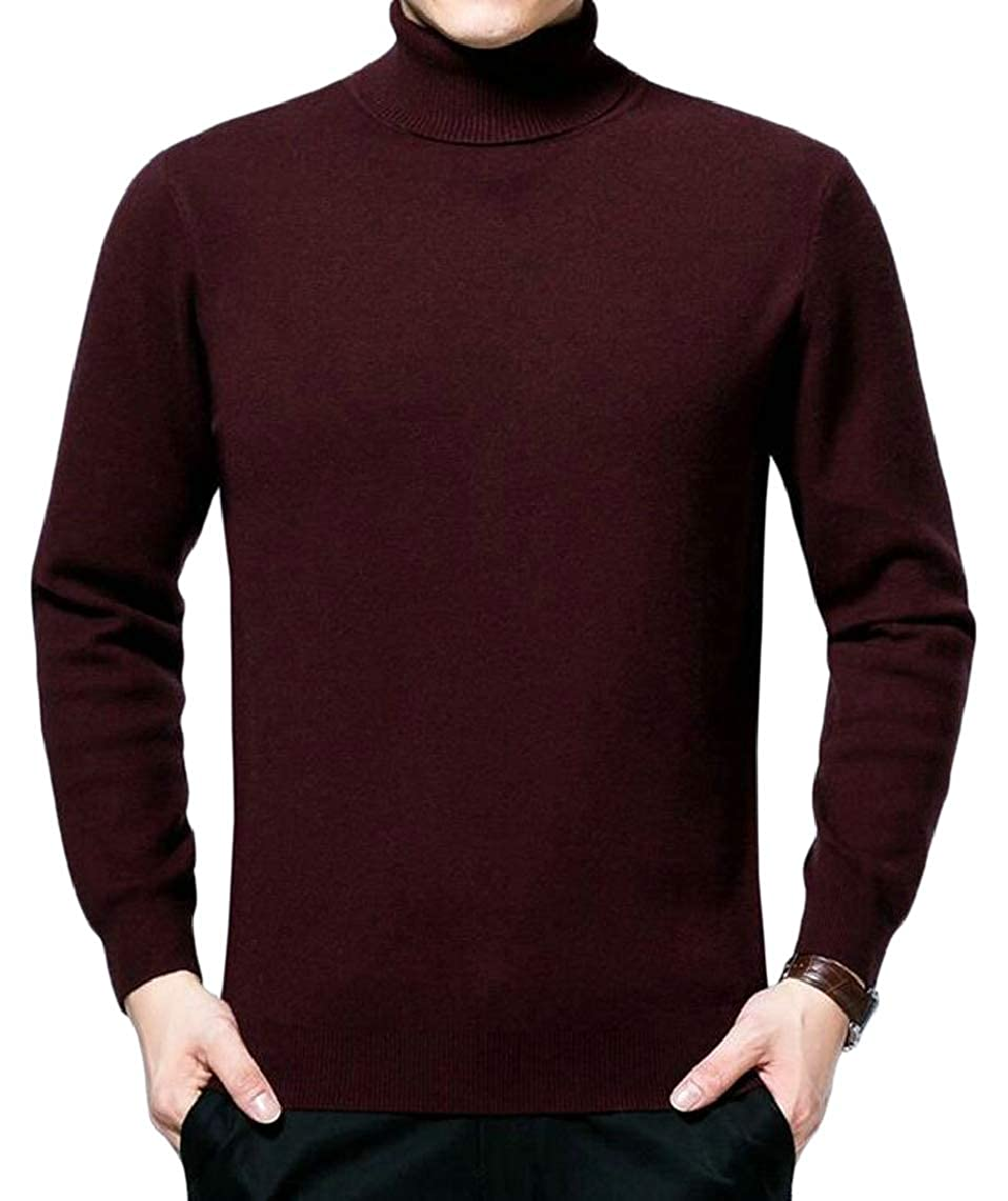Jmwss QD Men Turtleneck Long Sleeve High Neck Pullover Knitted Sweaters