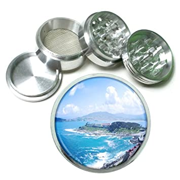 "2.5/"" 4PC Aluminum Sifter Magnetic Herb Grinder Ocean Views Design-006"