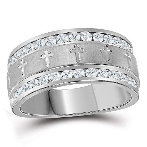 14k White Gold Diamond Mens Grecco Christian Cross Wedding Anniversary Band Ring 1.00 ct