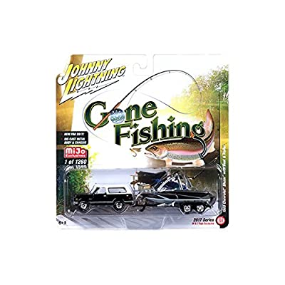 "1969 Chevrolet Blazer Black with Boat and Trailer ""Gone Fishing"" 1/64 by Johnny Lightning JLCP7010"