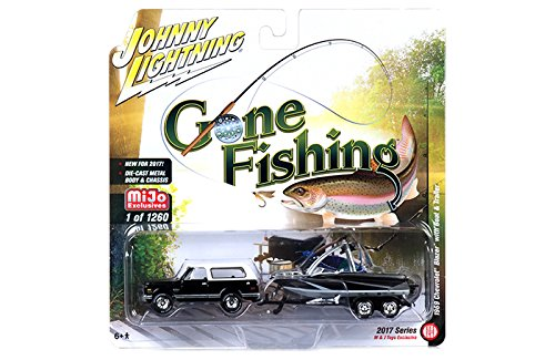 1969 Chevrolet Blazer Black with Boat and Trailer ''Gone Fishing'' 1/64 by Johnny Lightning JLCP7010 by Chevrolet