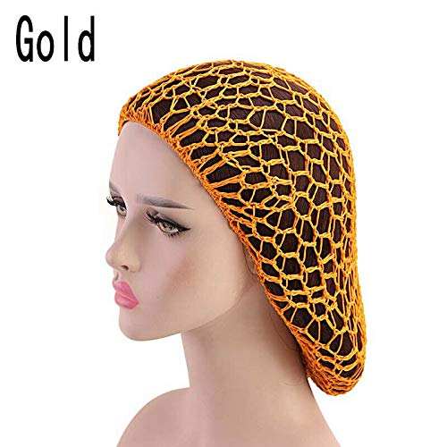 Snood Gold - Women Hair Net Sleeping Night Cover Turban Mesh Crochet Cap Solid Color Snood (Color - Gold)