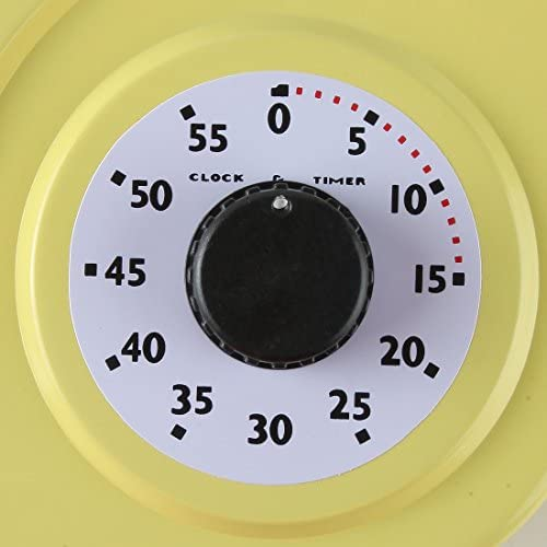 Lily's Home Retro Kitchen Wall Clock, with a Thermometer and 60-Minute Timer, Ideal for Any Kitchen, Yellow (9.5 in x 13.3 in) 51JwaCzMEgL