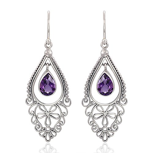 (925 Sterling Silver Bali Filigree Chandelier Design w/ Purple Amethyst Dangle Earrings)