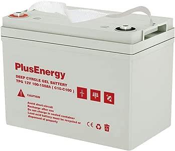 PlusEnergy BaterÍa de Gel 12V 100Ah /150Ah C10-C100 para Placa Solar Autocaravana TPG150: Amazon.es: Electrónica