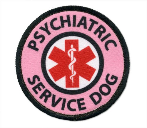 Pink PSYCHIATRIC SERVICE DOG Medical Alert Symbol 2.5 inch Sew-on Patch (Psychiatric Service Dog compare prices)