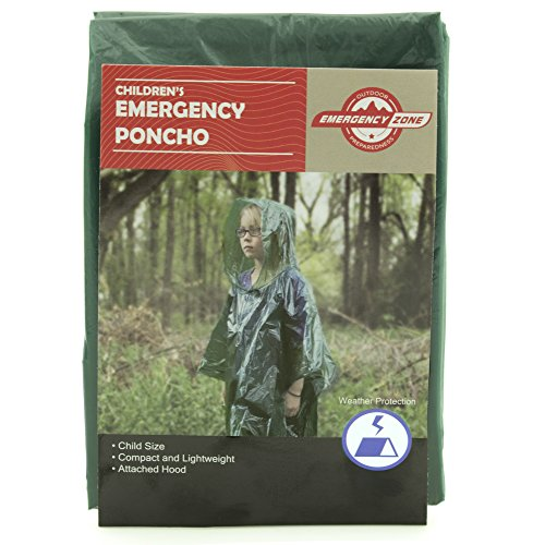 Children's Green Emergency Poncho, Weather Protection, Rain Gear, Emergency Zone (5 Pack)