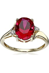10k Yellow Gold Created Ruby and Diamond Accent Ring, Size 7