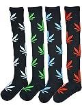TooPhoto Womens Knee High Socks Stockings Marijuana Maple Leaf Sports Cotton I Mix Color 1