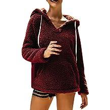 Meikosks Women's Fleece Sweater V-Neck Long Sleeves Hoodies Pocket Casual Loose Tops Blouses