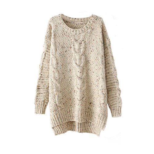 Memorose Womens Crochet Knitted Long Sleeve Loose Sweater Outwear Coat Pullover Beige, One Size fits Most