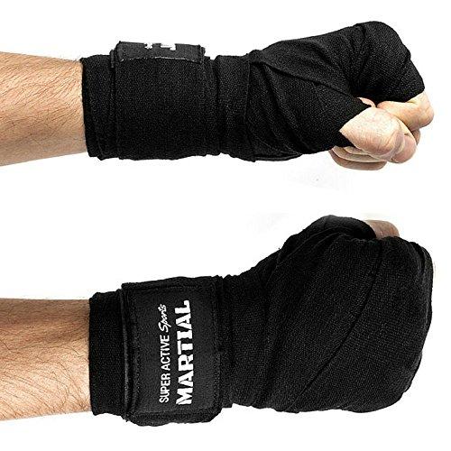 Boxbandagen Profi - Wettkampf Qualität - 4,50m - Hochwertige Konstruktion - Baumwolle & Elasthan - Boxen, MMA, Boxtraining, Sandsack, Boxsack - Schwarz 4,5m - Sehr Haltbar - Bandage