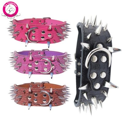 Brown L Brown L SlimArmor(TM) 5cm Width Strong PU Leather Pet Dog Collar With Spiked Studded Adjustable Extra Large Dog Puppy Lead Harness For PitBull Mastiff