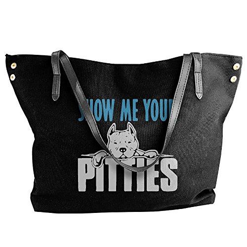 Tote Show Tote Women's Hobo Your Canvas Bag Pitties Me Black Handbag Large Shoulder Handbag waEx7rXEq