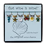 Wine Things ''Walk the Beach'' Painted Wine Charms, Fits Neatly Around Stem, Multicolor
