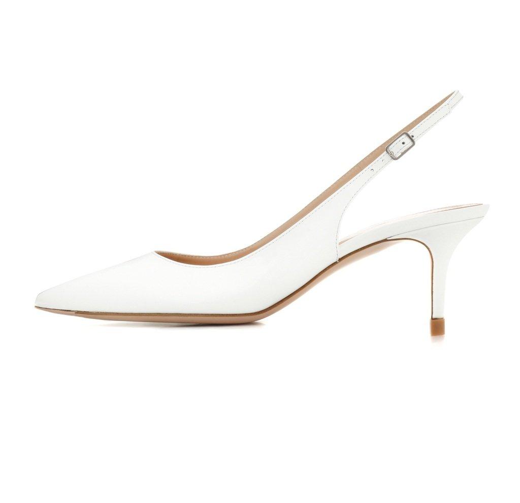 EDEFS Damen Kitten-Heel Slingback Pumps Spitze 6.5cm Mittlerer Absatz Pointed Toe Schuhe  41 EU Wei?