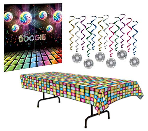 70s Party Decorations Pack - Disco Ball Whirls 70s Theme Back Back Drop and Disco -