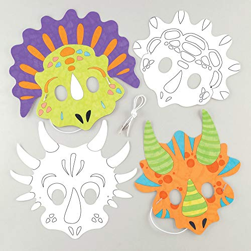 Baker Ross Dinosaur Colour in Mask Kits (Pack of 8) Assorted Dinosaur Figure Masks for Kids to Decorate and Wear to Party's or Dressing Up -