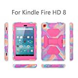 All-New Amazon Fire HD 8 Tablet Case, TRAVELLOR Shockproof Kidfrienly Full Body Rugged Hybrid Cover with Built-in Screen Protector and Multi-Functional Kickstand -Pink Camo/Pink