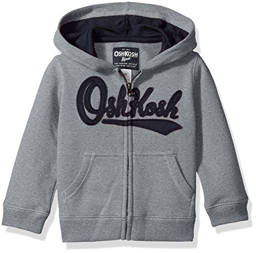 (OshKosh B'Gosh Boys' Toddler Full Zip Logo Hoodie, Misty Grey, 2T)