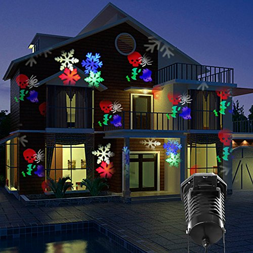 amazoncom party projection lights led projector light kohree outdoor light snowflake spotlight 10 pattern sparkling landscape lights for holiday party - Christmas Led Projector