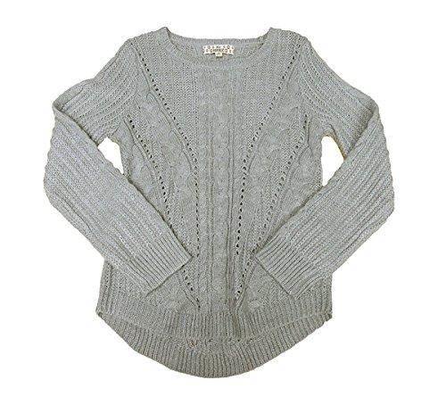 Metallic Ribbed Sweater - Pink Republic Mixed-Knit Metallic Sweater Grey Stone Small 7-8