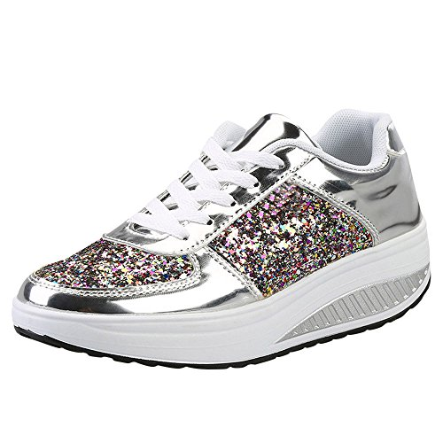 Clearnce Sale! Women's Sport Shoes Cinsanong Fashion Ladies Wedges Sneakers Sequins Shake Fashion Girls Shoes (Silver, 36) -