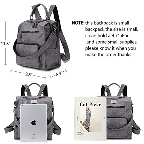 Women Three to Fashion Purse Girls Bag Mini Ways Backpack Leather Grey RAVUO Shoulder for Carry PU Backpack r6wrx70H