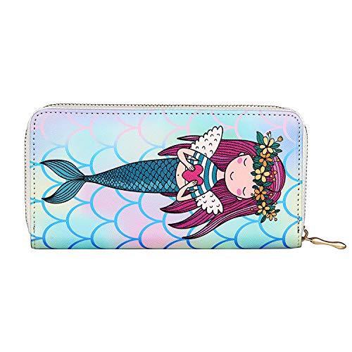 - Kukoo Women's Printed Zip Around Wallet Phone Clutch Purse Card Holder Organizer (Mermaid - B)