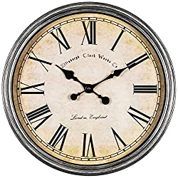 Bernhard Products Large Decorative Wall Clock 20 Inch Silent Non Ticking Battery Operated Quartz Vintage Stylish with Rustic Silver Rim for Home Kitchen Living Room Dining Room & Over Fireplace